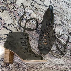 Lace up booties chunky heel olive green 7.5 8 EUC